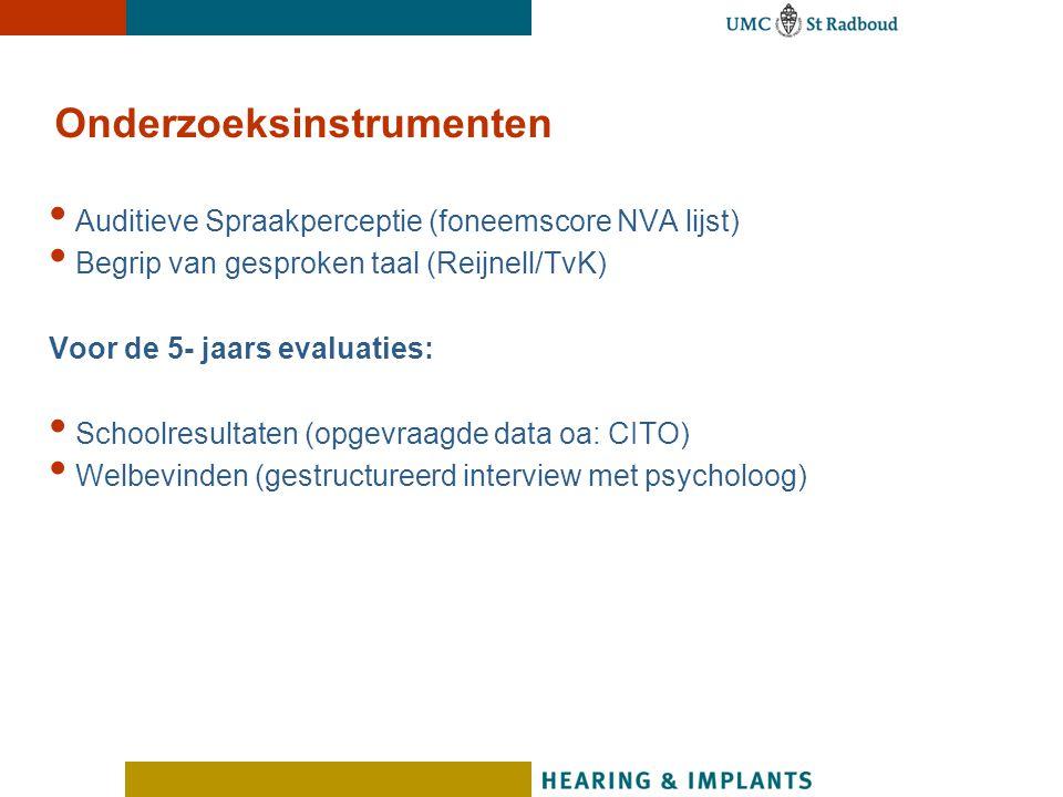 Auditieve Spraakperceptie (foneemscore NVA lijst) Begrip van gesproken taal (Reijnell/TvK) Voor de 5- jaars evaluaties: Schoolresultaten (opgevraagde