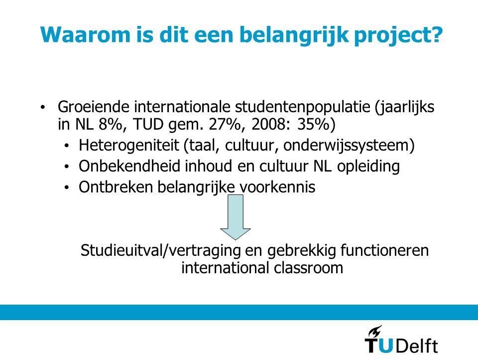 Waarom is dit een belangrijk project? Groeiende internationale studentenpopulatie (jaarlijks in NL 8%, TUD gem. 27%, 2008: 35%) Heterogeniteit (taal,