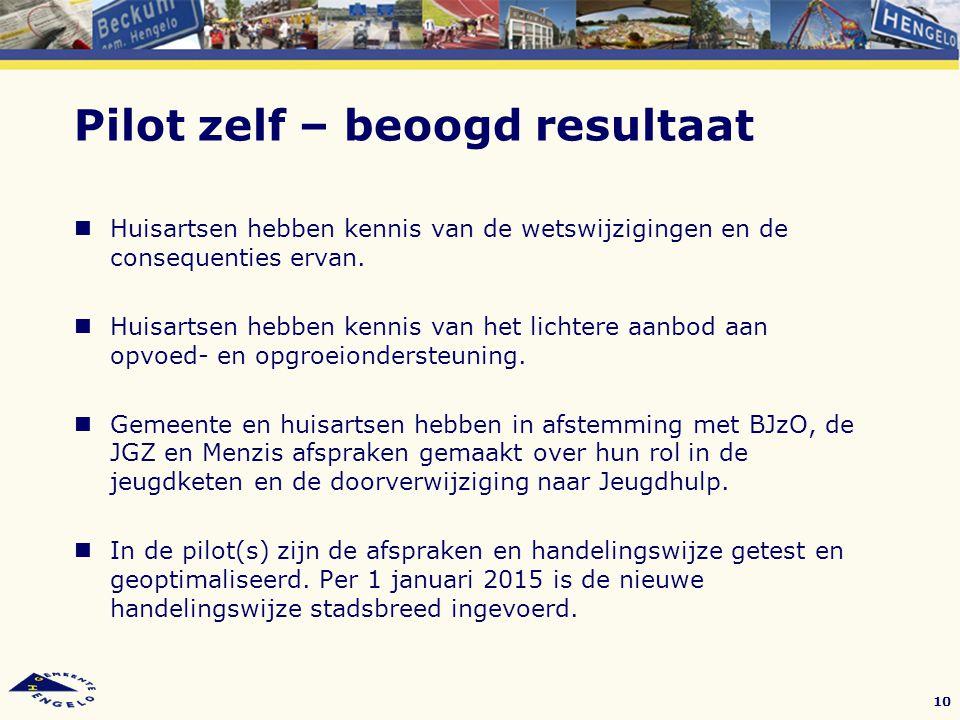 Pilot zelf – beoogd resultaat Huisartsen hebben kennis van de wetswijzigingen en de consequenties ervan. Huisartsen hebben kennis van het lichtere aan