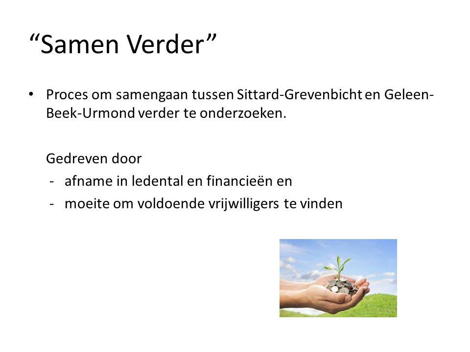 """""""Samen Verder"""" Proces om samengaan tussen Sittard-Grevenbicht en Geleen- Beek-Urmond verder te onderzoeken. Gedreven door - afname in ledental en fina"""