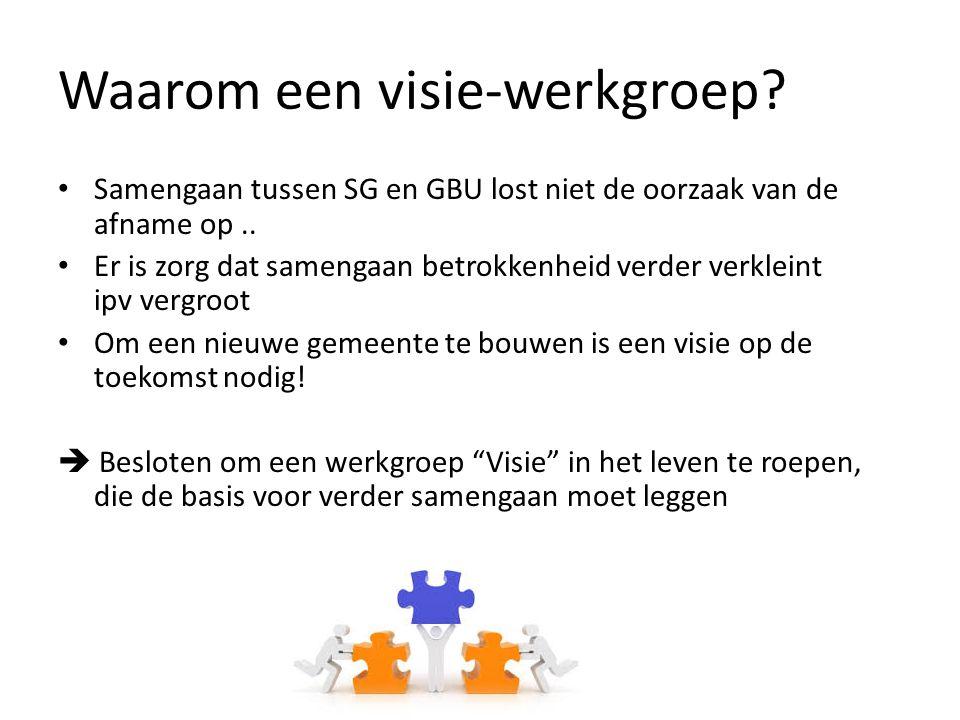 Waarom een visie-werkgroep? Samengaan tussen SG en GBU lost niet de oorzaak van de afname op.. Er is zorg dat samengaan betrokkenheid verder verkleint