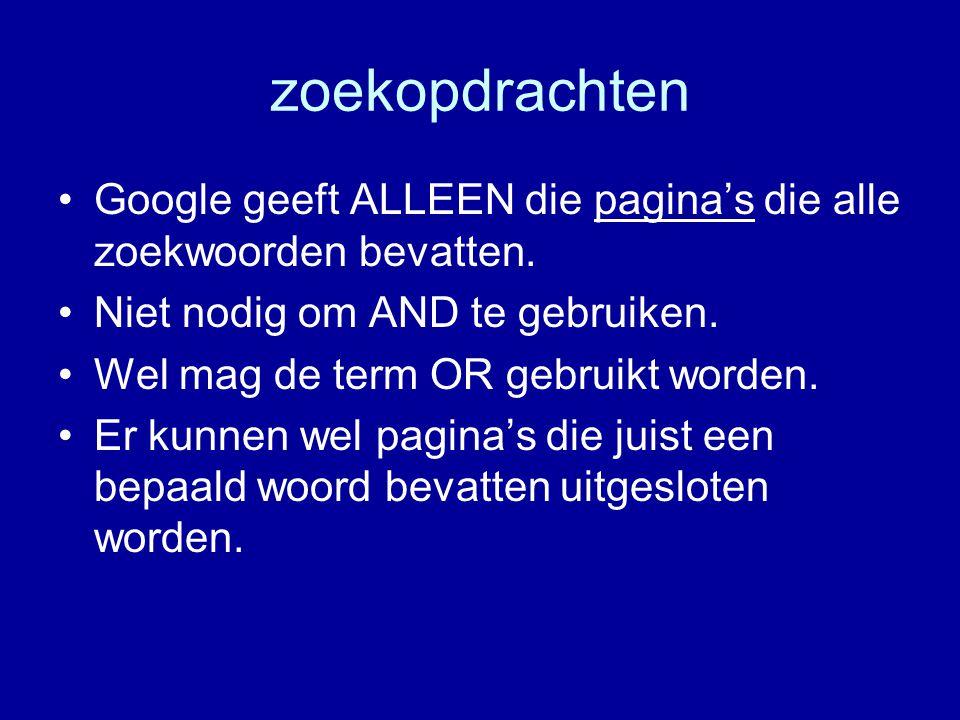 zoekopdrachten Google geeft ALLEEN die pagina's die alle zoekwoorden bevatten.