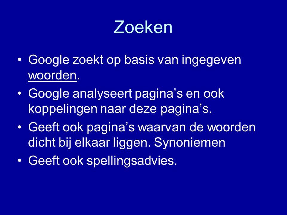 Zoeken Google zoekt op basis van ingegeven woorden.