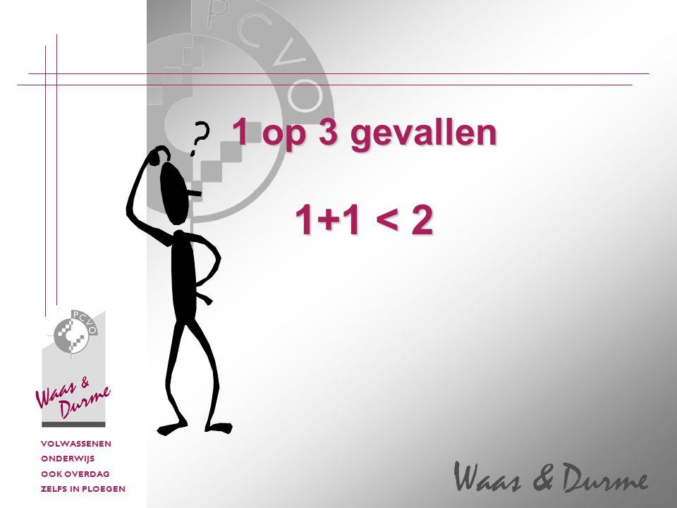 VOLWASSENEN ONDERWIJS OOK OVERDAG ZELFS IN PLOEGEN Waas & Durme 1 op 3 gevallen 1+1 < 2