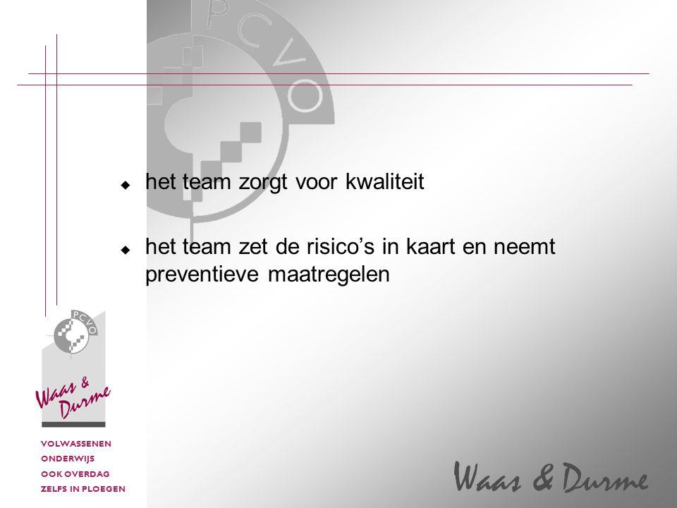 VOLWASSENEN ONDERWIJS OOK OVERDAG ZELFS IN PLOEGEN Waas & Durme  het team zorgt voor kwaliteit  het team zet de risico's in kaart en neemt preventieve maatregelen