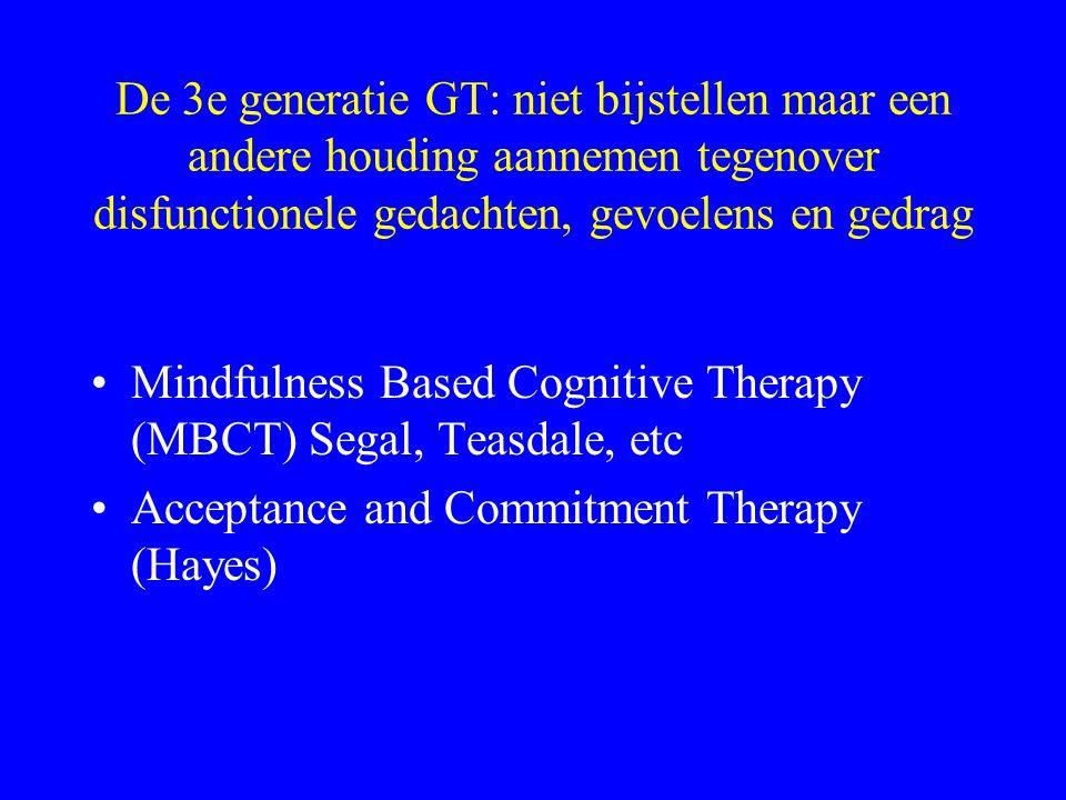 De 3e generatie GT: niet bijstellen maar een andere houding aannemen tegenover disfunctionele gedachten, gevoelens en gedrag Mindfulness Based Cogniti