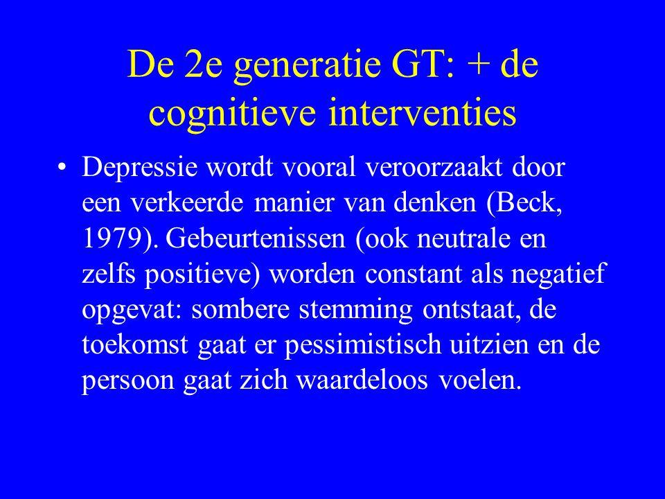 De 2e generatie GT: + de cognitieve interventies Depressie wordt vooral veroorzaakt door een verkeerde manier van denken (Beck, 1979). Gebeurtenissen