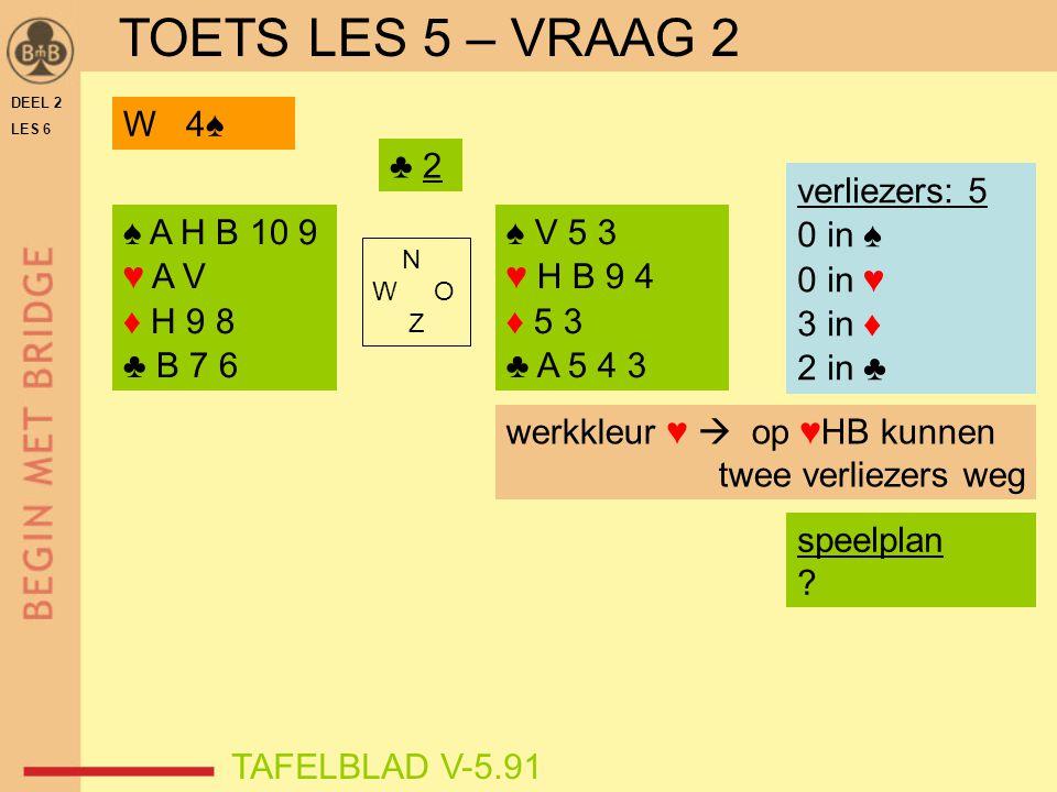 DEEL 2 LES 6 ♠ A H B 10 9 ♥ A V ♦ H 9 8 ♣ B 7 6 ♠ V 5 3 ♥ H B 9 4 ♦ 5 3 ♣ A 5 4 3 N W O Z TAFELBLAD V-5.91 ♣ 2 verliezers: 5 0 in ♠ 0 in ♥ 3 in ♦ 2 in