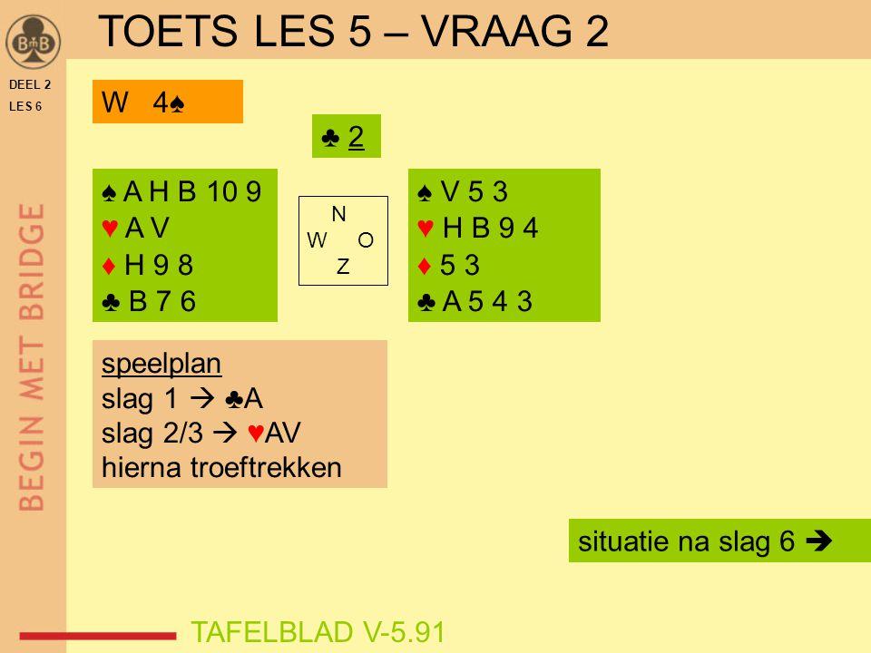 DEEL 2 LES 6 ♠ A H B 10 9 ♥ A V ♦ H 9 8 ♣ B 7 6 ♠ V 5 3 ♥ H B 9 4 ♦ 5 3 ♣ A 5 4 3 N W O Z TAFELBLAD V-5.91 ♣ 2 speelplan slag 1  ♣A slag 2/3  ♥AV hi
