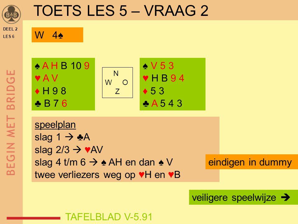 DEEL 2 LES 6 ♠ A H B 10 9 ♥ A V ♦ H 9 8 ♣ B 7 6 ♠ V 5 3 ♥ H B 9 4 ♦ 5 3 ♣ A 5 4 3 N W O Z TAFELBLAD V-5.91 W 4♠ speelplan slag 1  ♣A slag 2/3  ♥AV s
