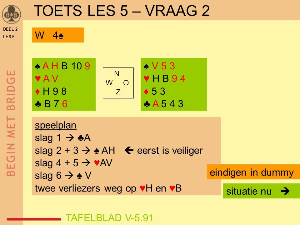 DEEL 2 LES 6 ♠ V 5 3 ♥ H B 9 4 ♦ 5 3 ♣ A 5 4 3 N W O Z TAFELBLAD V-5.91 situatie nu  W 4♠ speelplan slag 1  ♣A slag 2 + 3  ♠ AH  eerst is veiliger