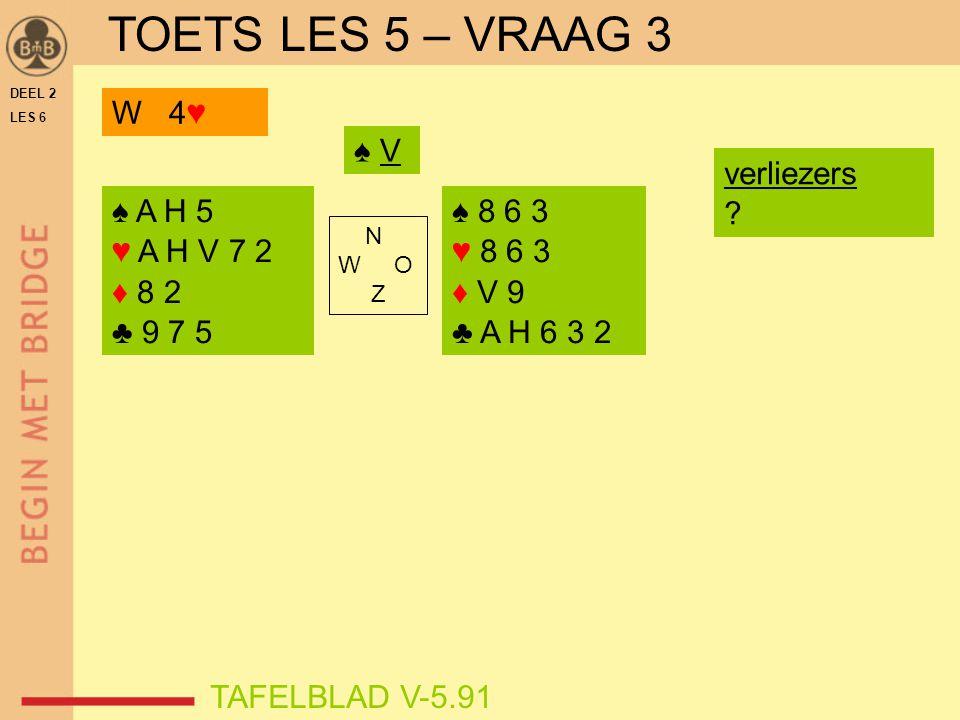 DEEL 2 LES 6 N W O Z TAFELBLAD V-5.91 ♠ V W 4♥ ♠ 8 6 3 ♥ 8 6 3 ♦ V 9 ♣ A H 6 3 2 ♠ A H 5 ♥ A H V 7 2 ♦ 8 2 ♣ 9 7 5 verliezers ? TOETS LES 5 – VRAAG 3