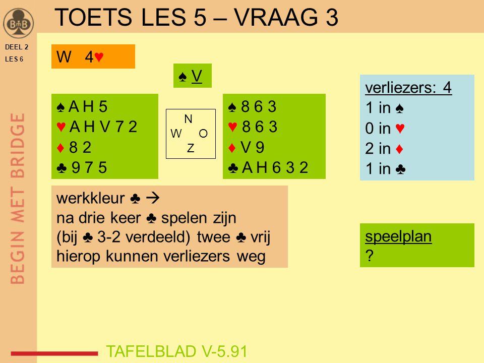DEEL 2 LES 6 N W O Z TAFELBLAD V-5.91 ♠ V verliezers: 4 1 in ♠ 0 in ♥ 2 in ♦ 1 in ♣ werkkleur ♣  na drie keer ♣ spelen zijn (bij ♣ 3-2 verdeeld) twee