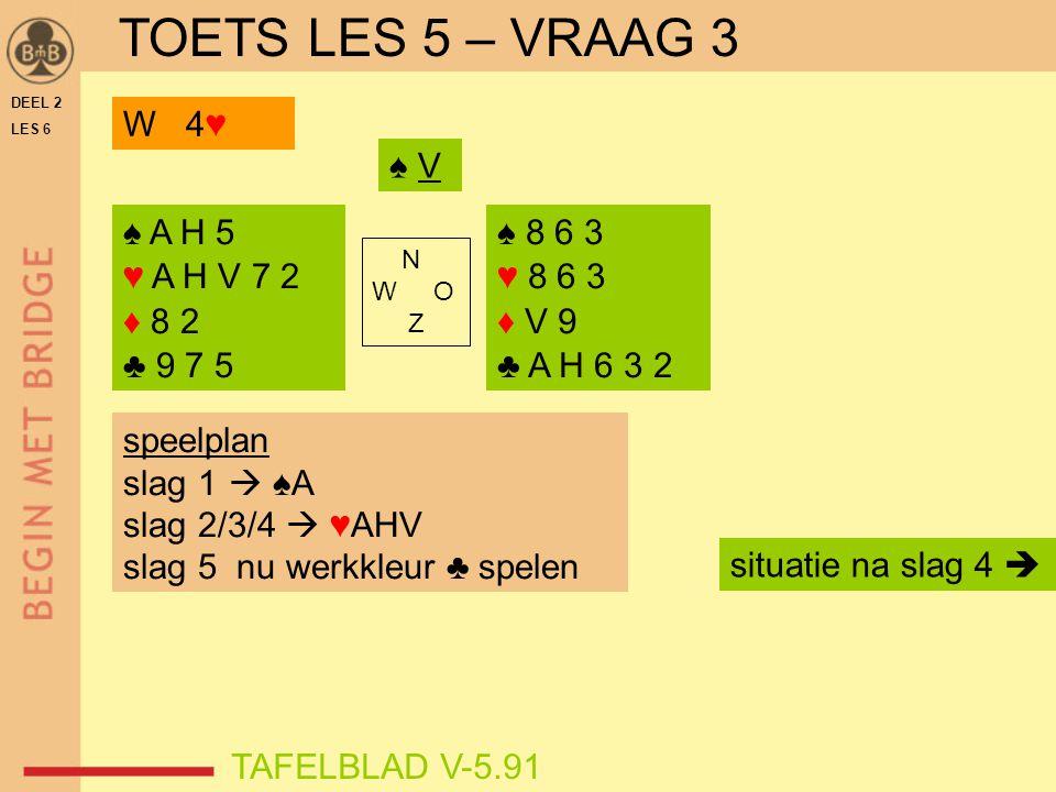 DEEL 2 LES 6 N W O Z TAFELBLAD V-5.91 ♠ V speelplan slag 1  ♠A slag 2/3/4  ♥AHV slag 5 nu werkkleur ♣ spelen situatie na slag 4  ♠ A H 5 ♥ A H V 7