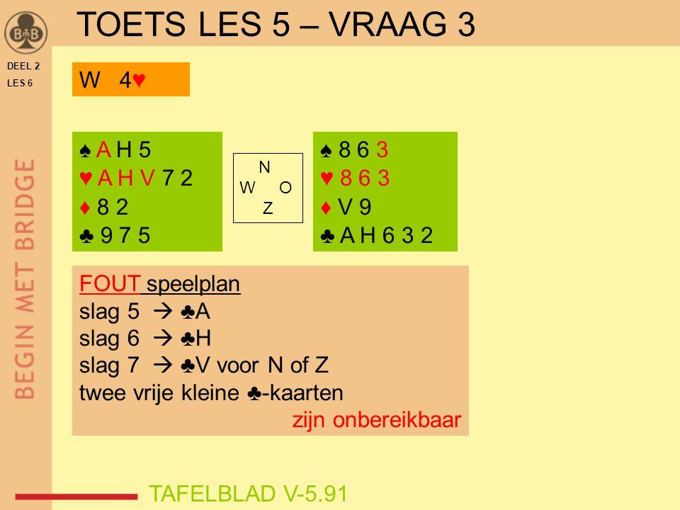 DEEL 2 LES 6 N W O Z TAFELBLAD V-5.91 FOUT speelplan slag 5  ♣A slag 6  ♣H slag 7  ♣V voor N of Z twee vrije kleine ♣-kaarten zijn onbereikbaar ♠ 8