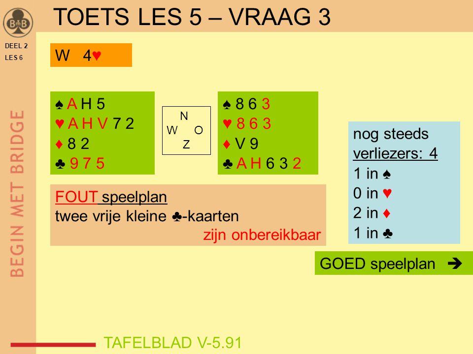 DEEL 2 LES 6 N W O Z TAFELBLAD V-5.91 FOUT speelplan twee vrije kleine ♣-kaarten zijn onbereikbaar GOED speelplan  nog steeds verliezers: 4 1 in ♠ 0