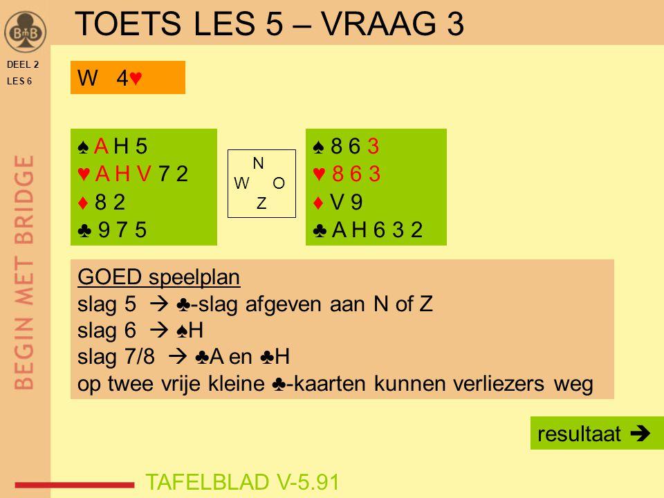 DEEL 2 LES 6 N W O Z TAFELBLAD V-5.91 GOED speelplan slag 5  ♣-slag afgeven aan N of Z slag 6  ♠H slag 7/8  ♣A en ♣H op twee vrije kleine ♣-kaarten