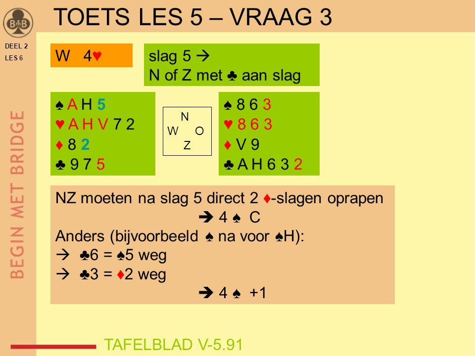 DEEL 2 LES 6 N W O Z TAFELBLAD V-5.91 NZ moeten na slag 5 direct 2 ♦-slagen oprapen  4 ♠ C Anders (bijvoorbeeld ♠ na voor ♠H):  ♣6 = ♠5 weg  ♣3 = ♦