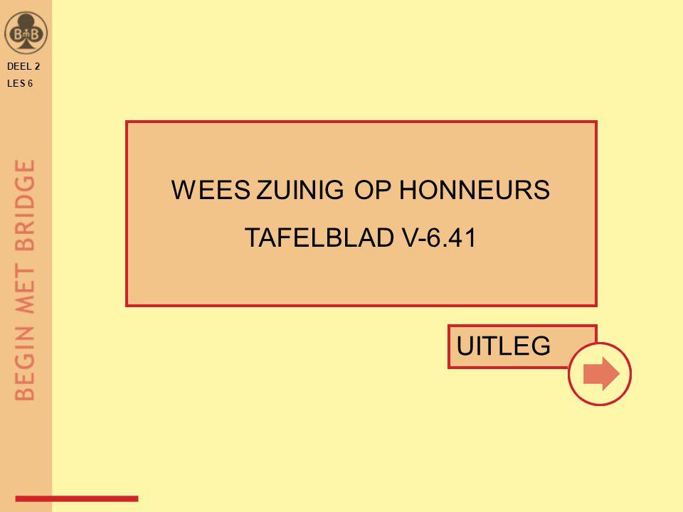 DEEL 2 LES 6 WEES ZUINIG OP HONNEURS TAFELBLAD V-6.41 UITLEG