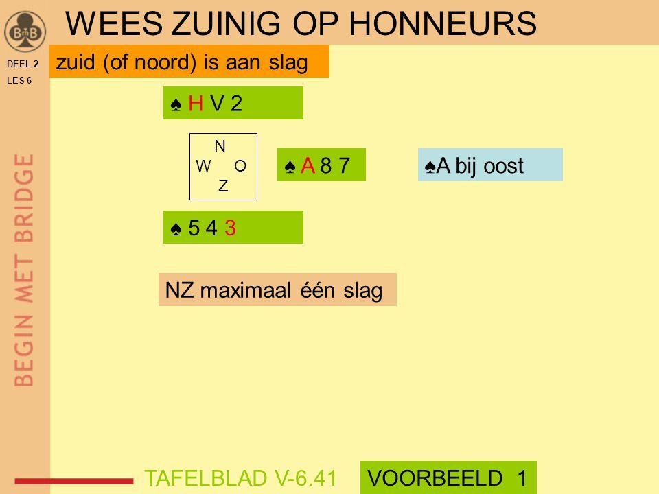 DEEL 2 LES 6 ♠ 5 4 3 ♠ H V 2 N W O Z zuid (of noord) is aan slag NZ maximaal één slag ♠ A 8 7♠A bij oost WEES ZUINIG OP HONNEURS TAFELBLAD V-6.41VOORB