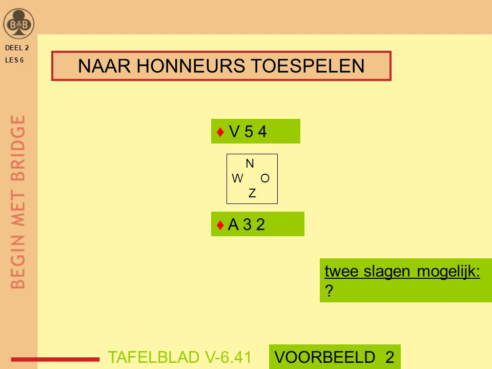 DEEL 2 LES 6 ♦ A 3 2 ♦ V 5 4 N W O Z twee slagen mogelijk: ? TAFELBLAD V-6.41VOORBEELD 2 NAAR HONNEURS TOESPELEN