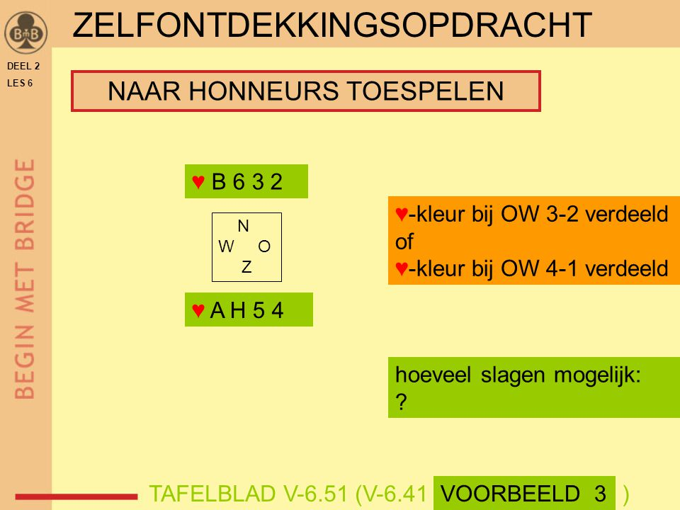 DEEL 2 LES 6 ♥ A H 5 4 ♥ B 6 3 2 N W O Z hoeveel slagen mogelijk: ? ♥-kleur bij OW 3-2 verdeeld of ♥-kleur bij OW 4-1 verdeeld TAFELBLAD V-6.51 (V-6.4