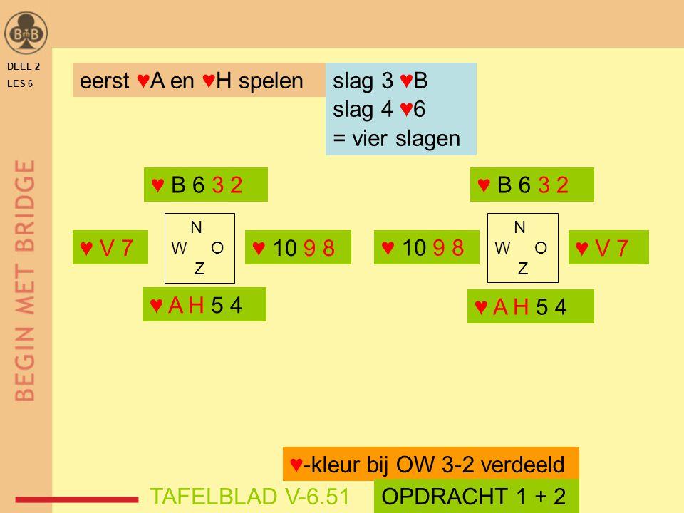 DEEL 2 LES 6 N W O Z eerst ♥A en ♥H spelen ♥ B 6 3 2 ♥ A H 5 4 ♥-kleur bij OW 3-2 verdeeld slag 3 ♥B slag 4 ♥6 = vier slagen TAFELBLAD V-6.51OPDRACHT