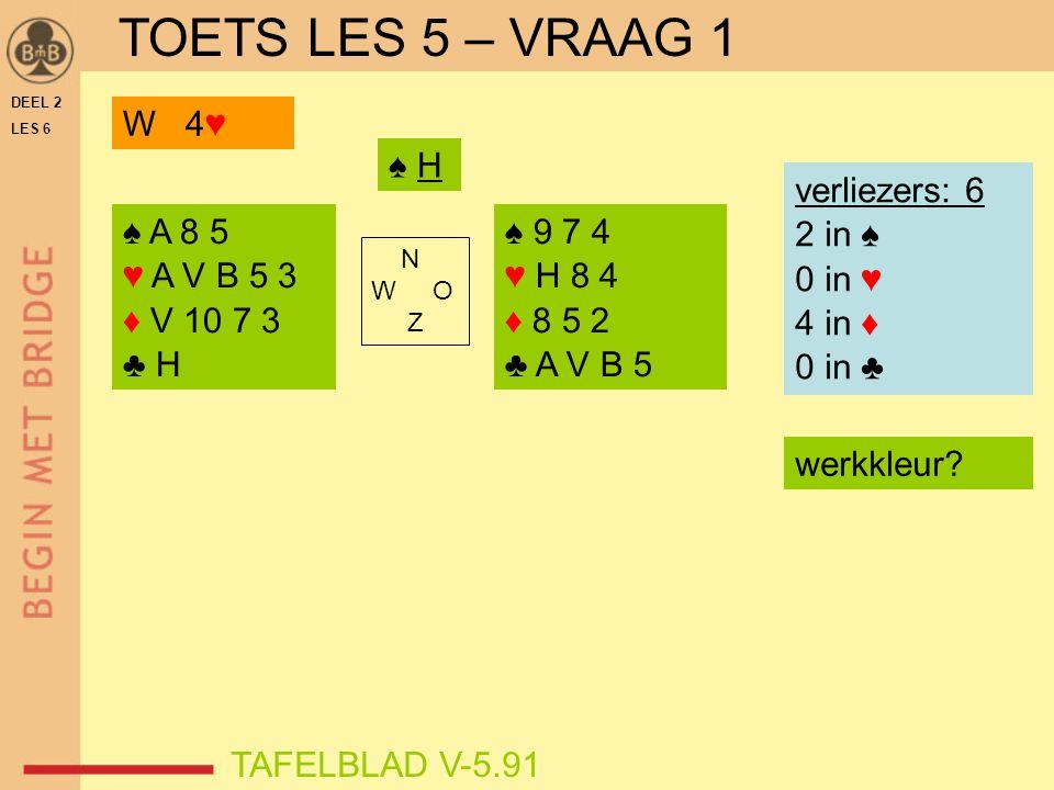 DEEL 2 LES 6 ♠ A 8 5 ♥ A V B 5 3 ♦ V 10 7 3 ♣ H ♠ 9 7 4 ♥ H 8 4 ♦ 8 5 2 ♣ A V B 5 N W O Z TAFELBLAD V-5.91 ♠ H W 4♥ verliezers: 6 2 in ♠ 0 in ♥ 4 in ♦