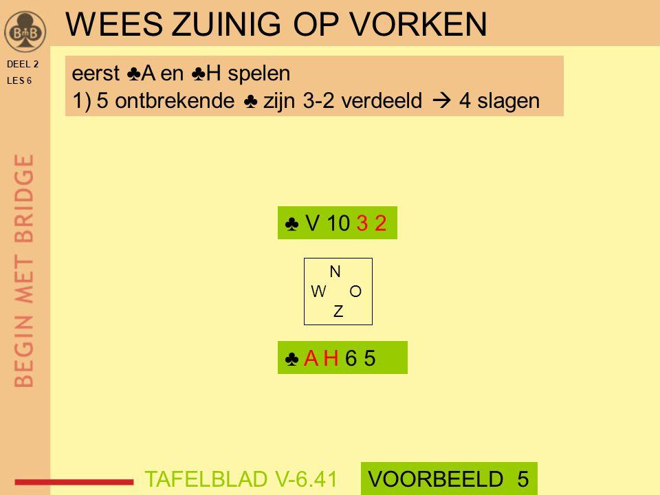 DEEL 2 LES 6 N W O Z eerst ♣A en ♣H spelen 1)5 ontbrekende ♣ zijn 3-2 verdeeld  4 slagen ♣ V 10 3 2 ♣ A H 6 5 WEES ZUINIG OP VORKEN TAFELBLAD V-6.41V