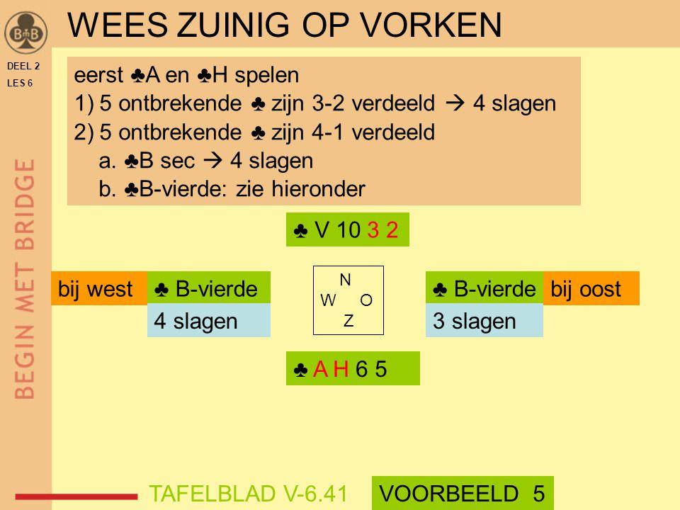 DEEL 2 LES 6 N W O Z eerst ♣A en ♣H spelen 1)5 ontbrekende ♣ zijn 3-2 verdeeld  4 slagen 2)5 ontbrekende ♣ zijn 4-1 verdeeld a. ♣B sec  4 slagen b.