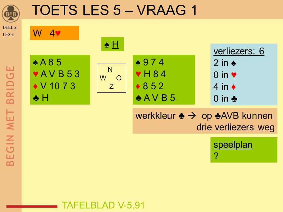 DEEL 2 LES 6 ♠ A 8 5 ♥ A V B 5 3 ♦ V 10 7 3 ♣ H ♠ 9 7 4 ♥ H 8 4 ♦ 8 5 2 ♣ A V B 5 N W O Z TAFELBLAD V-5.91 ♠ H verliezers: 6 2 in ♠ 0 in ♥ 4 in ♦ 0 in