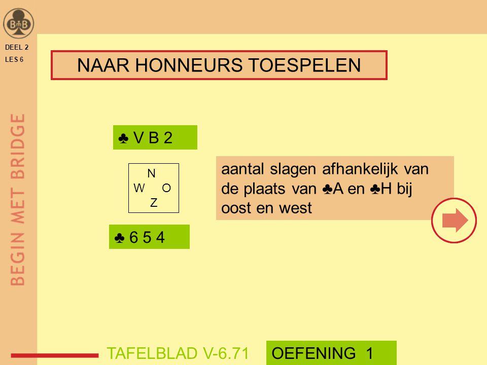 DEEL 2 LES 6 ♣ V B 2 ♣ 6 5 4 N W O Z TAFELBLAD V-6.71OEFENING 1 NAAR HONNEURS TOESPELEN aantal slagen afhankelijk van de plaats van ♣A en ♣H bij oost