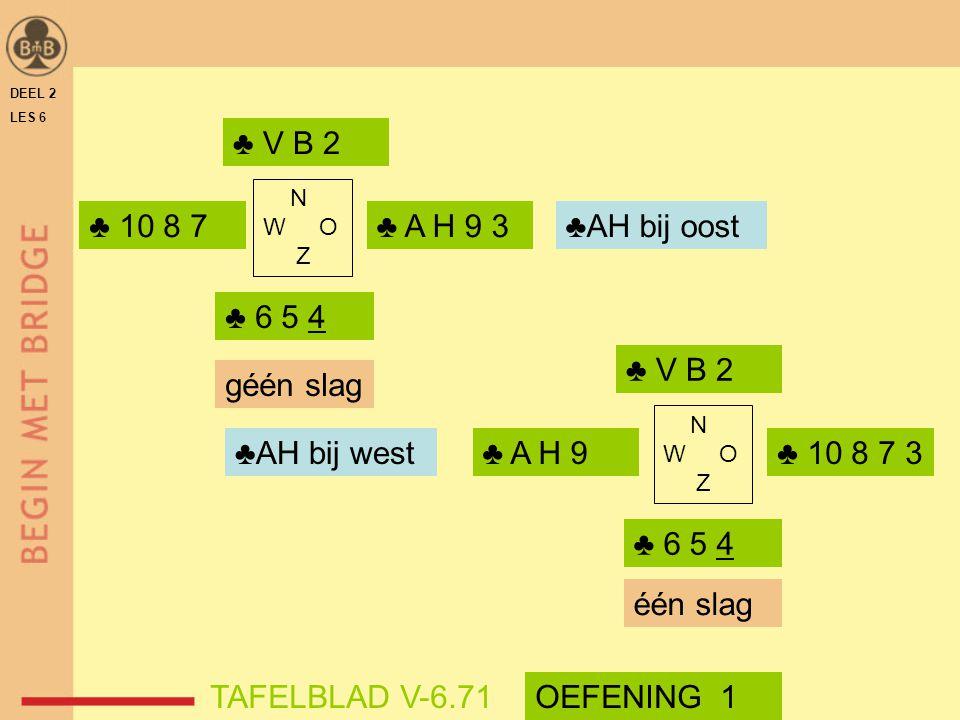 DEEL 2 LES 6 ♣ V B 2 ♣ 6 5 4 N W O Z ♣ 10 8 7 ♣ A H 9 ♣ V B 2 N W O Z ♣ 6 5 4 ♣ A H 9 3 ♣ 10 8 7 3 géén slag één slag TAFELBLAD V-6.71 ♣AH bij oost ♣A