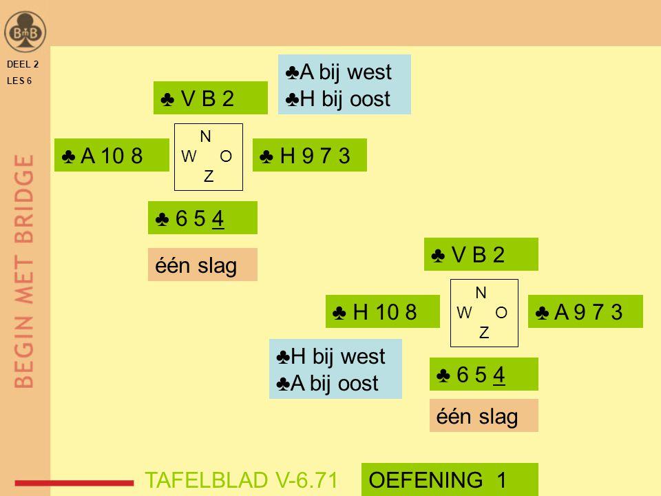 DEEL 2 LES 6 ♣ V B 2 ♣ 6 5 4 N W O Z ♣ A 10 8 ♣ H 10 8 ♣ V B 2 N W O Z ♣ 6 5 4 ♣ H 9 7 3 ♣ A 9 7 3 één slag TAFELBLAD V-6.71 ♣A bij west ♣H bij oost ♣