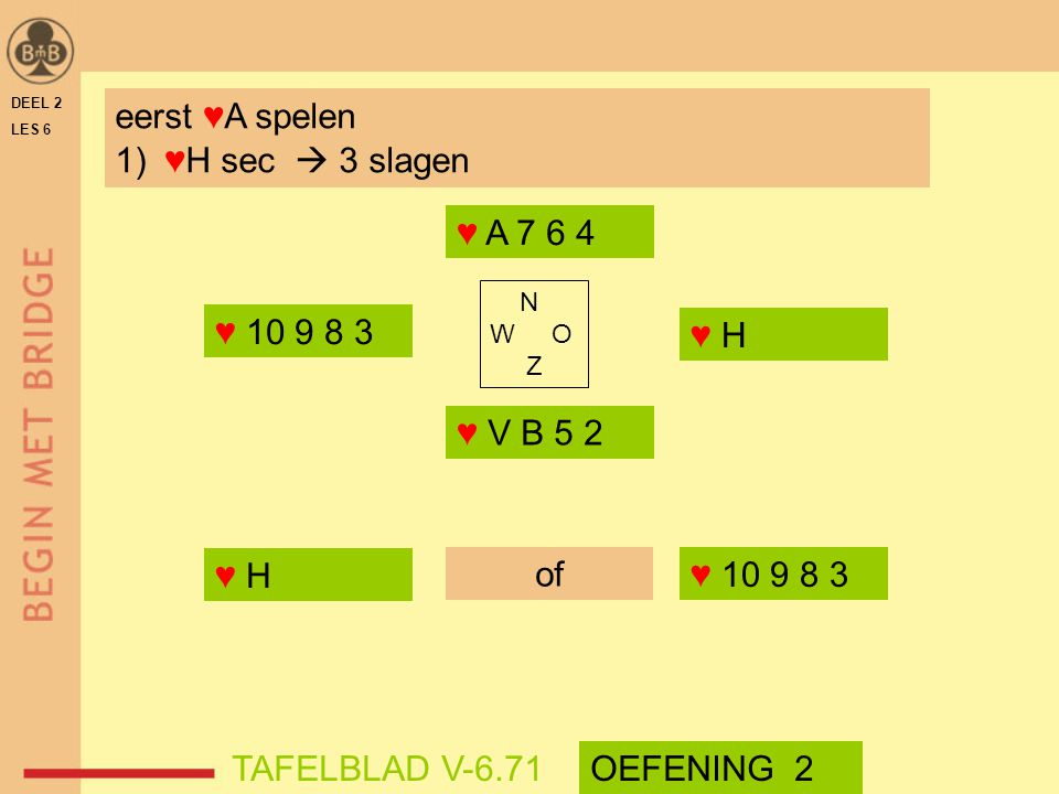 DEEL 2 LES 6 N W O Z ♥ A 7 6 4 ♥ V B 5 2 TAFELBLAD V-6.71OEFENING 2 eerst ♥A spelen 1) ♥H sec  3 slagen ♥ 10 9 8 3 ♥ H of ♥ 10 9 8 3 ♥ H