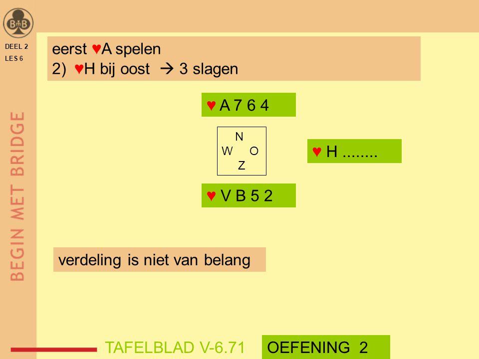 DEEL 2 LES 6 N W O Z ♥ A 7 6 4 ♥ V B 5 2 TAFELBLAD V-6.71OEFENING 2 eerst ♥A spelen 2) ♥H bij oost  3 slagen verdeling is niet van belang ♥ H........