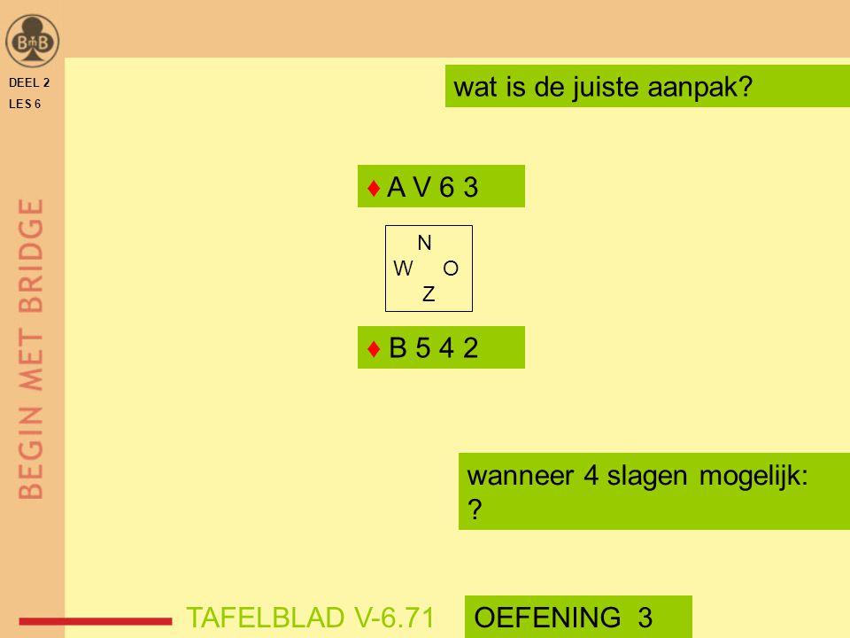 DEEL 2 LES 6 N W O Z wat is de juiste aanpak? ♦ A V 6 3 ♦ B 5 4 2 wanneer 4 slagen mogelijk: ? TAFELBLAD V-6.71OEFENING 3