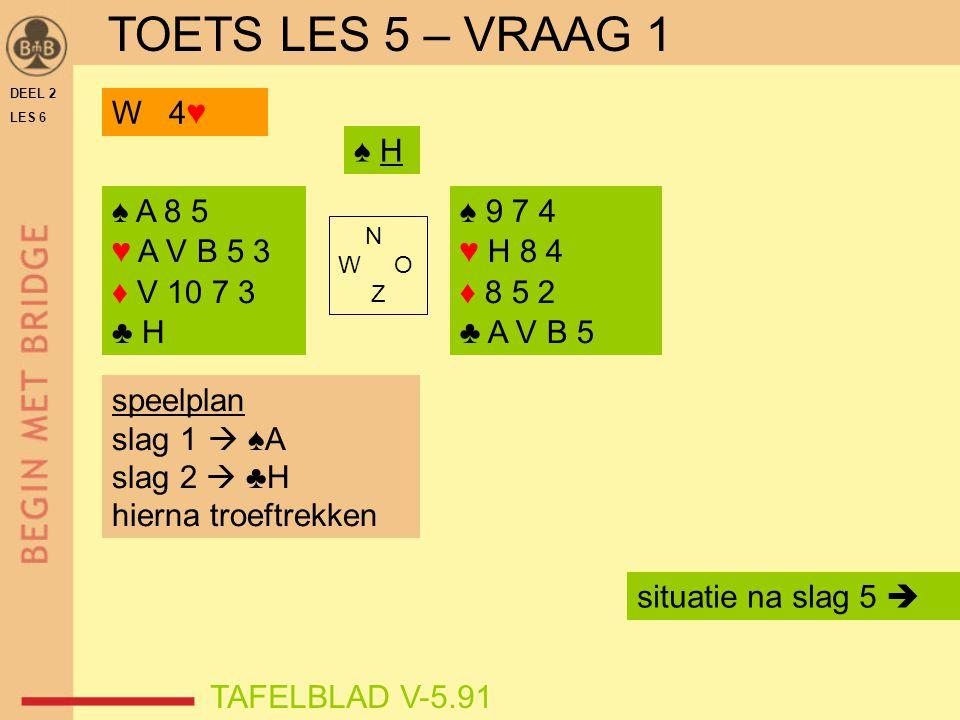 DEEL 2 LES 6 ♠ A 8 5 ♥ A V B 5 3 ♦ V 10 7 3 ♣ H ♠ 9 7 4 ♥ H 8 4 ♦ 8 5 2 ♣ A V B 5 N W O Z TAFELBLAD V-5.91 ♠ H speelplan slag 1  ♠A slag 2  ♣H hiern