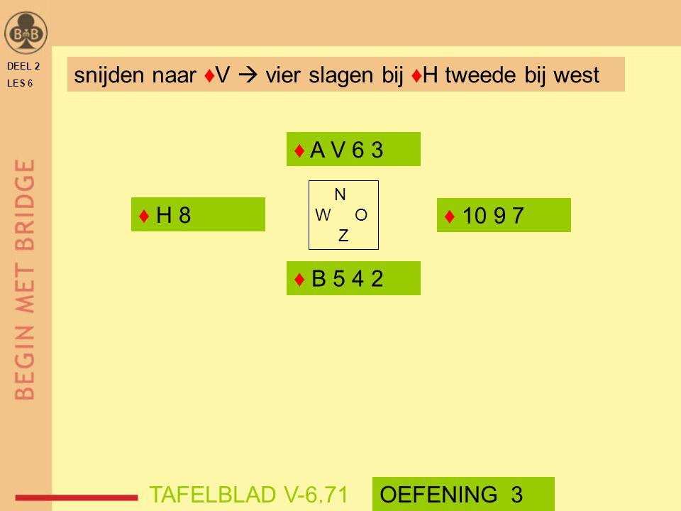 DEEL 2 LES 6 N W O Z ♦ A V 6 3 ♦ B 5 4 2 TAFELBLAD V-6.71OEFENING 3 snijden naar ♦V  vier slagen bij ♦H tweede bij west ♦ 10 9 7 ♦ H 8