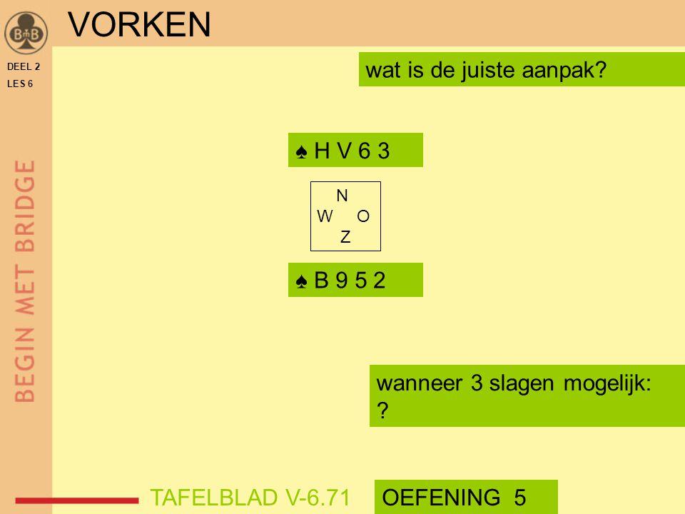 DEEL 2 LES 6 N W O Z wat is de juiste aanpak? ♠ H V 6 3 ♠ B 9 5 2 wanneer 3 slagen mogelijk: ? VORKEN TAFELBLAD V-6.71OEFENING 5