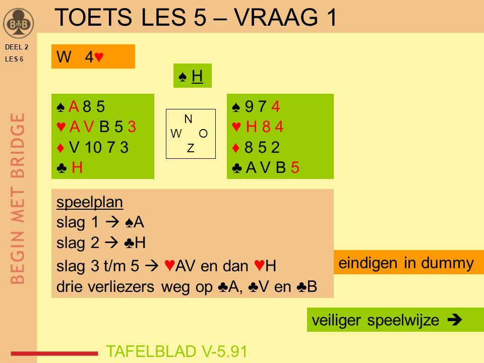 DEEL 2 LES 6 ♠ A 8 5 ♥ A V B 5 3 ♦ V 10 7 3 ♣ H ♠ 9 7 4 ♥ H 8 4 ♦ 8 5 2 ♣ A V B 5 N W O Z TAFELBLAD V-5.91 speelplan slag 1  ♠A slag 2  ♣H slag 3 t/