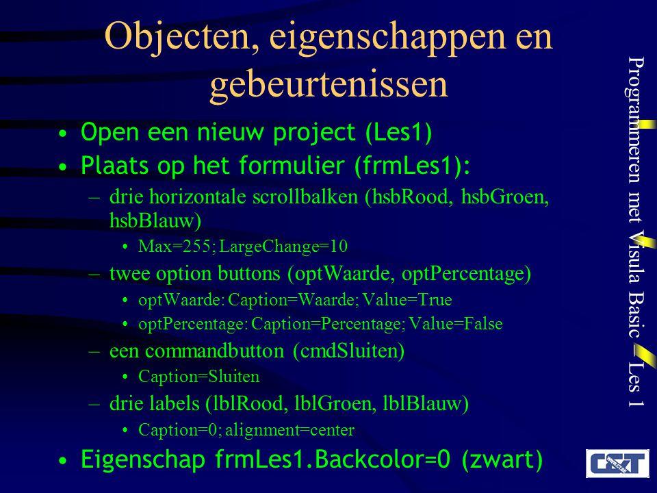 Programmeren met Visula Basic – Les 1 Objecten, eigenschappen en gebeurtenissen Open een nieuw project (Les1) Plaats op het formulier (frmLes1): –drie