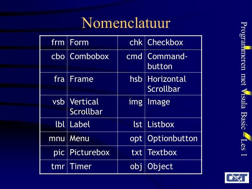 Programmeren met Visula Basic – Les 1 Nomenclatuur frmFormchkCheckbox cboComboboxcmdCommand- button fraFramehsbHorizontal Scrollbar vsbVertical Scroll