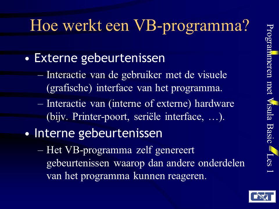Programmeren met Visula Basic – Les 1 Hoe werkt een VB-programma? Externe gebeurtenissen –Interactie van de gebruiker met de visuele (grafische) inter