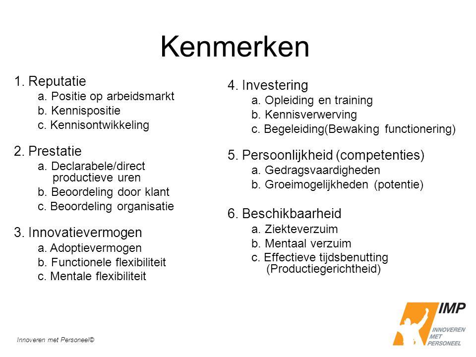 Kenmerken 1. Reputatie a. Positie op arbeidsmarkt b. Kennispositie c. Kennisontwikkeling 2. Prestatie a. Declarabele/direct productieve uren b. Beoord
