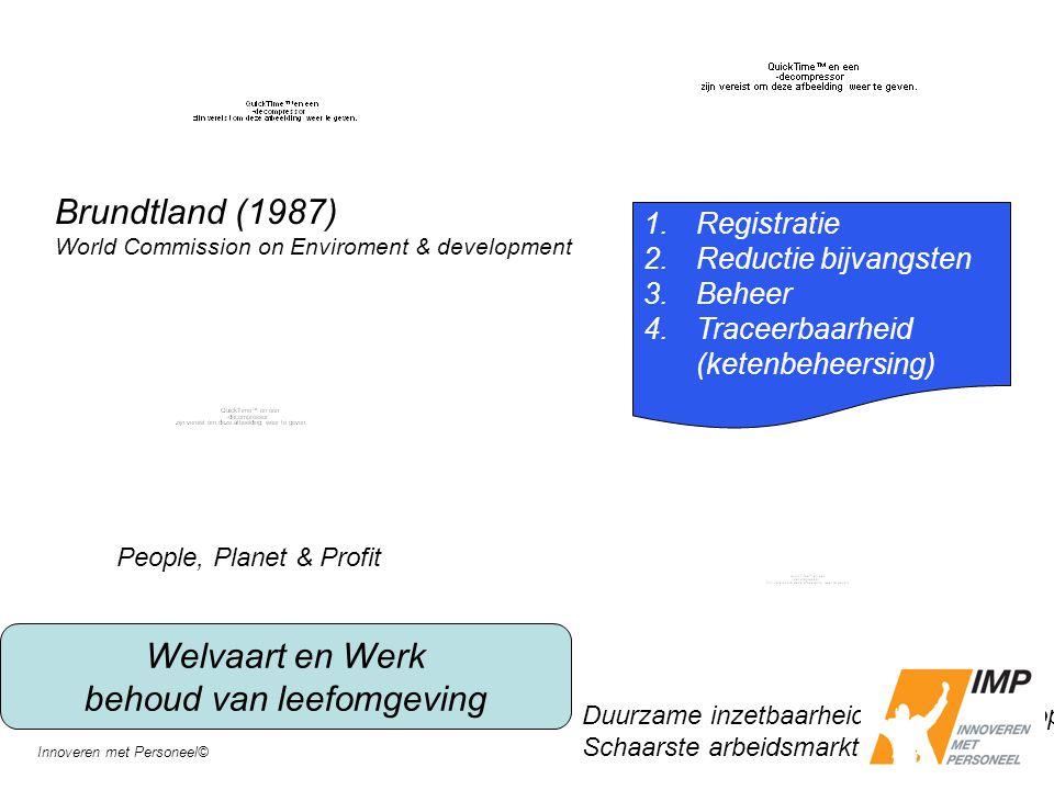 Welvaart en Werk behoud van leefomgeving 1.Registratie 2.Reductie bijvangsten 3.Beheer 4.Traceerbaarheid (ketenbeheersing) People, Planet & Profit Bru
