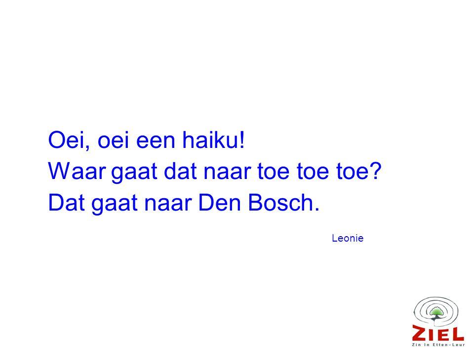 Oei, oei een haiku! Waar gaat dat naar toe toe toe Dat gaat naar Den Bosch. Leonie