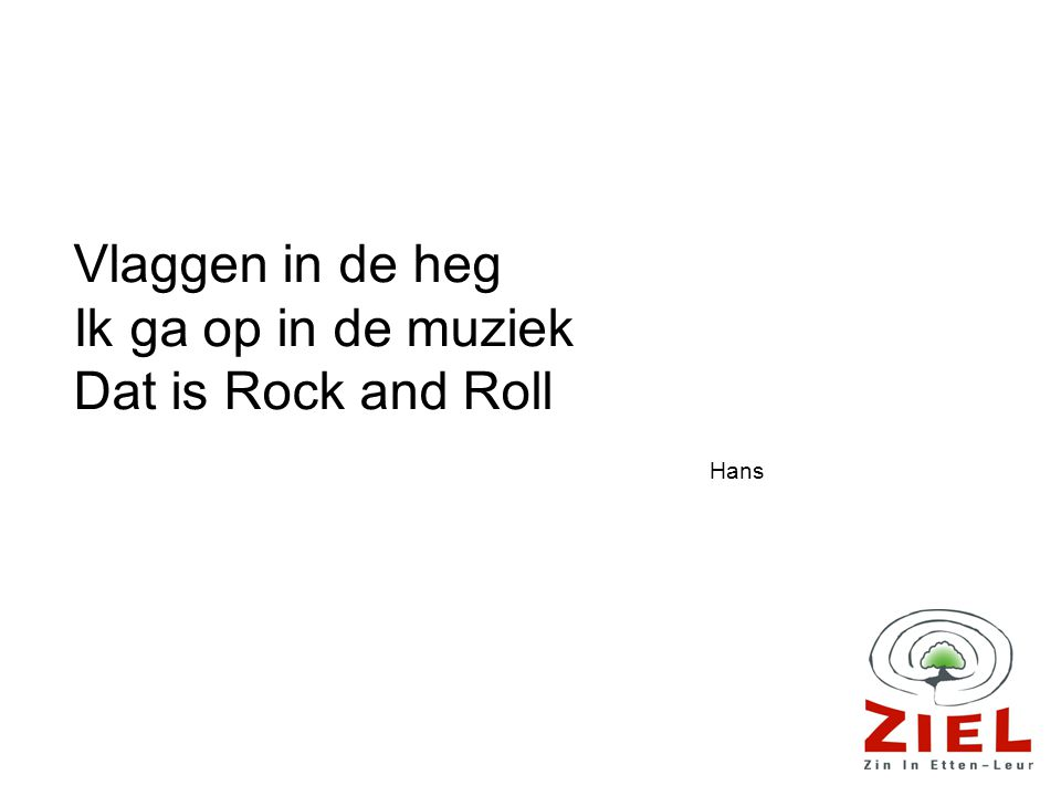 Vlaggen in de heg Ik ga op in de muziek Dat is Rock and Roll Hans