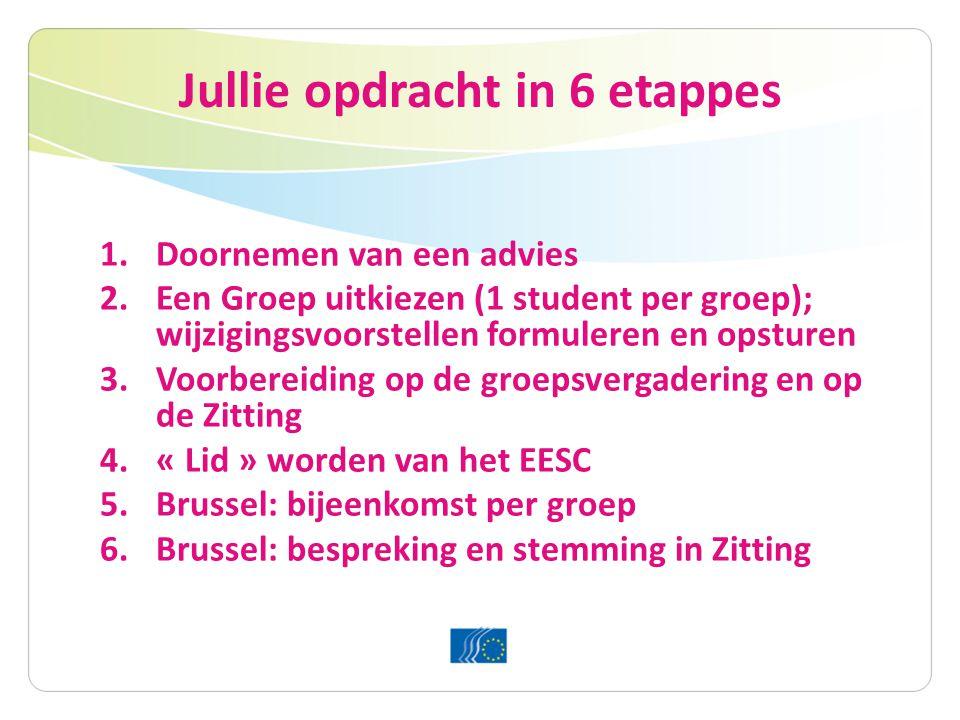 Jullie opdracht in 6 etappes 1.Doornemen van een advies 2.Een Groep uitkiezen (1 student per groep); wijzigingsvoorstellen formuleren en opsturen 3.Voorbereiding op de groepsvergadering en op de Zitting 4.« Lid » worden van het EESC 5.Brussel: bijeenkomst per groep 6.Brussel: bespreking en stemming in Zitting
