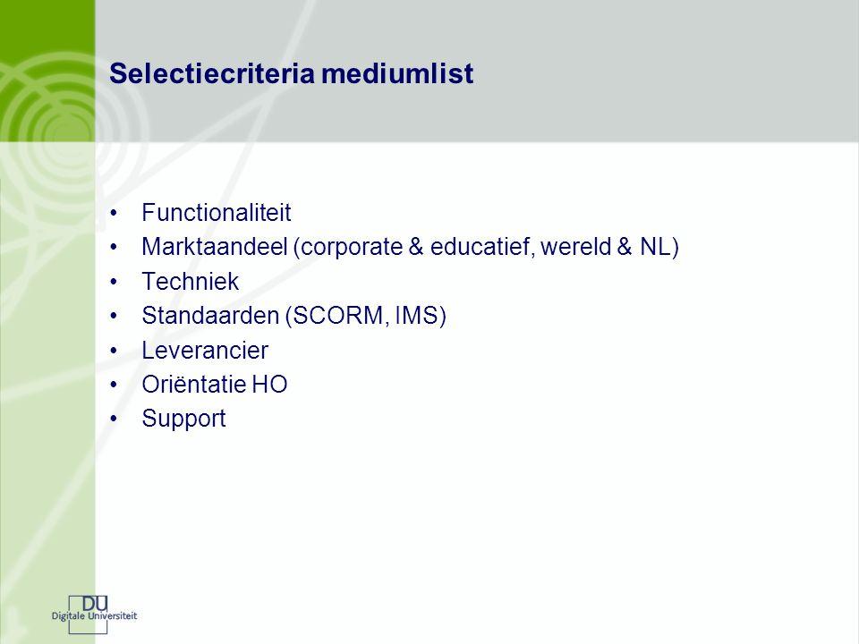 Selectiecriteria mediumlist Functionaliteit Marktaandeel (corporate & educatief, wereld & NL) Techniek Standaarden (SCORM, IMS) Leverancier Oriëntatie HO Support